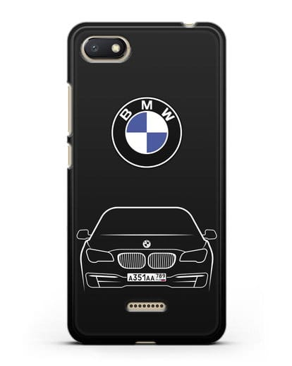 Чехол BMW 7 с автомобильным номером силикон черный для Xiaomi Redmi 6A