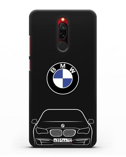 Чехол BMW 7 с автомобильным номером силикон черный для Xiaomi Redmi 8