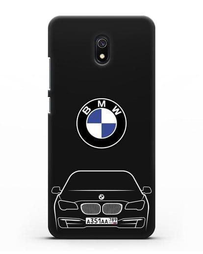 Чехол BMW 7 с автомобильным номером силикон черный для Xiaomi Redmi 8A