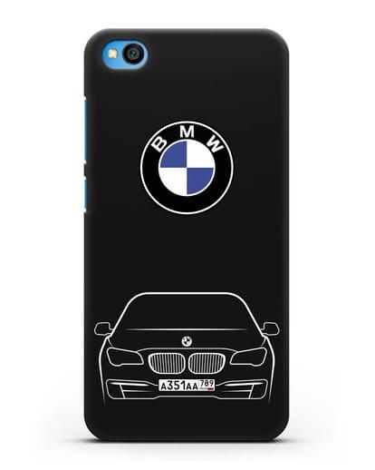Чехол BMW 7 с автомобильным номером силикон черный для Xiaomi Redmi Go