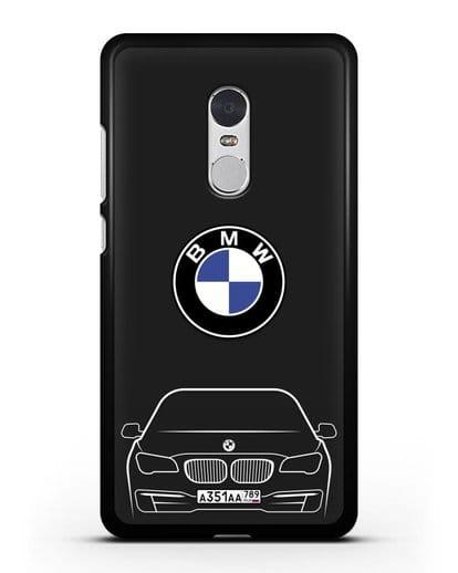 Чехол BMW 7 с автомобильным номером силикон черный для Xiaomi Redmi Note 4