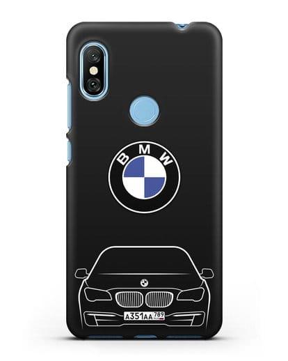 Чехол BMW 7 с автомобильным номером силикон черный для Xiaomi Redmi Note 6 Pro