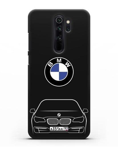 Чехол BMW 7 с автомобильным номером силикон черный для Xiaomi Redmi Note 8 Pro