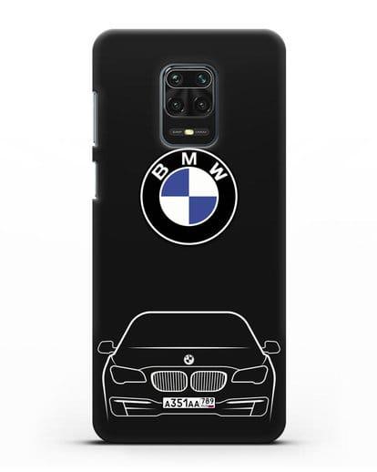 Чехол BMW 7 с автомобильным номером силикон черный для Xiaomi Redmi Note 9 Pro