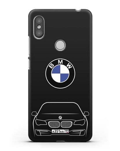 Чехол BMW 7 с автомобильным номером силикон черный для Xiaomi Redmi S2