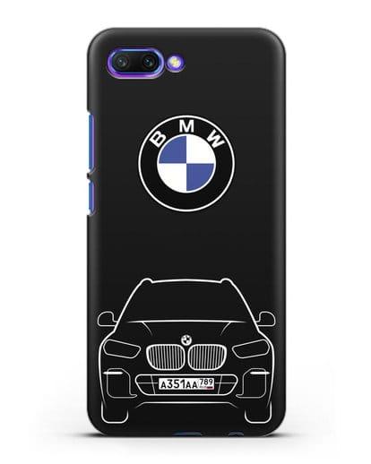 Чехол BMW X5 с автомобильным номером силикон черный для Honor 10