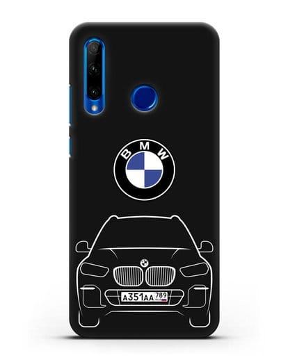 Чехол BMW X5 с автомобильным номером силикон черный для Honor 10i