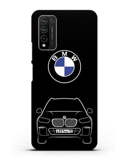Чехол BMW X5 с автомобильным номером силикон черный для Honor 10X Lite