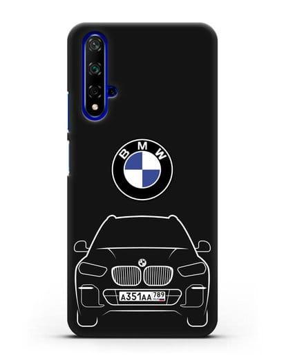 Чехол BMW X5 с автомобильным номером силикон черный для Honor 20