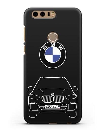 Чехол BMW X5 с автомобильным номером силикон черный для Honor 8