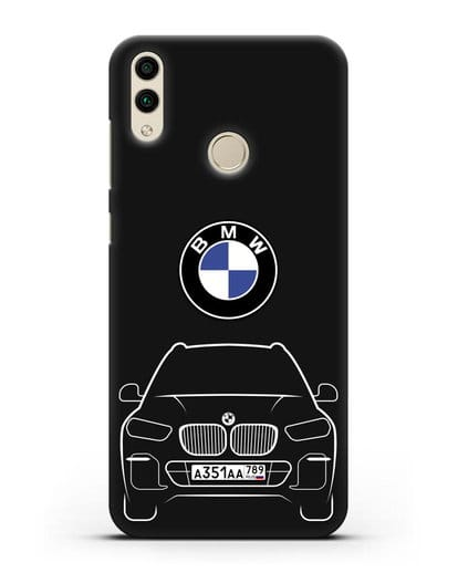 Чехол BMW X5 с автомобильным номером силикон черный для Honor 8C