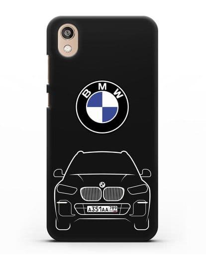 Чехол BMW X5 с автомобильным номером силикон черный для Honor 8S