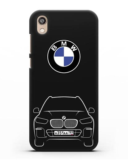 Чехол BMW X5 с автомобильным номером силикон черный для Honor 8S Prime