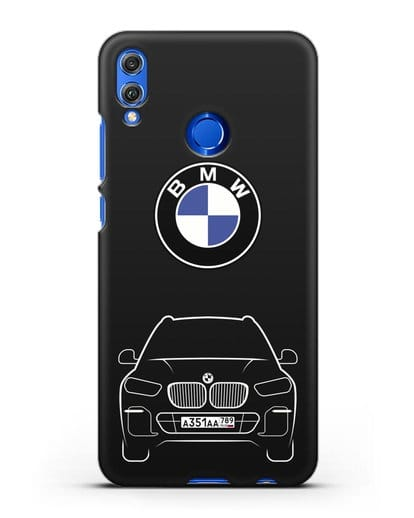 Чехол BMW X5 с автомобильным номером силикон черный для Honor 8X