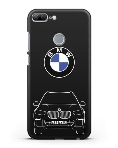 Чехол BMW X5 с автомобильным номером силикон черный для Honor 9 Lite
