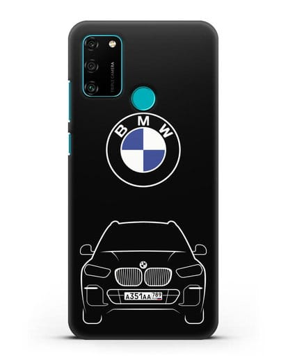Чехол BMW X5 с автомобильным номером силикон черный для Honor 9A