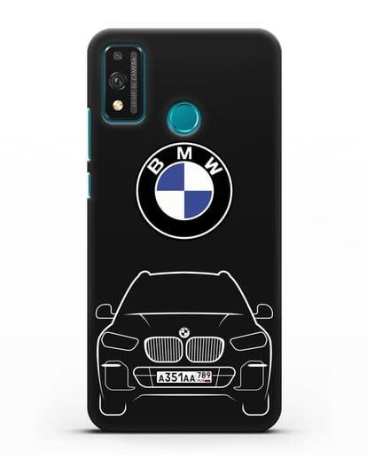 Чехол BMW X5 с автомобильным номером силикон черный для Honor 9X lite