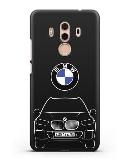 Чехол BMW X5 с автомобильным номером силикон черный для Huawei Mate 10 Pro