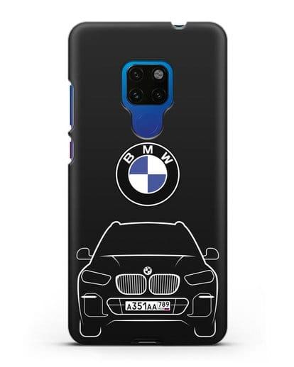 Чехол BMW X5 с автомобильным номером силикон черный для Huawei Mate 20