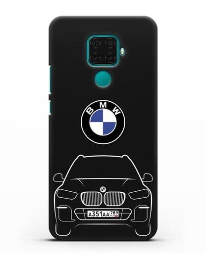 Чехол BMW X5 с автомобильным номером силикон черный для Huawei Mate 30 Lite