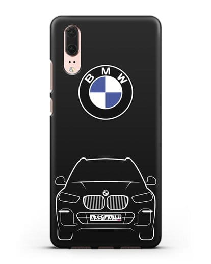 Чехол BMW X5 с автомобильным номером силикон черный для Huawei P20