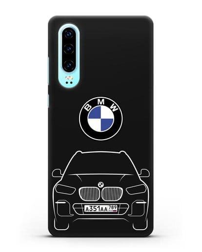 Чехол BMW X5 с автомобильным номером силикон черный для Huawei P30