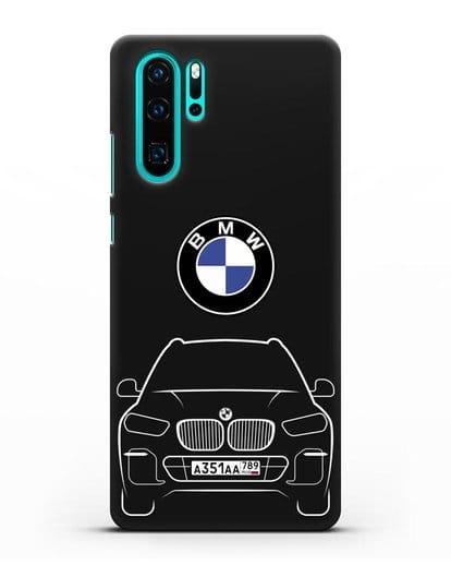 Чехол BMW X5 с автомобильным номером силикон черный для Huawei P30 Pro