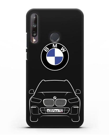 Чехол BMW X5 с автомобильным номером силикон черный для Huawei P40 lite E