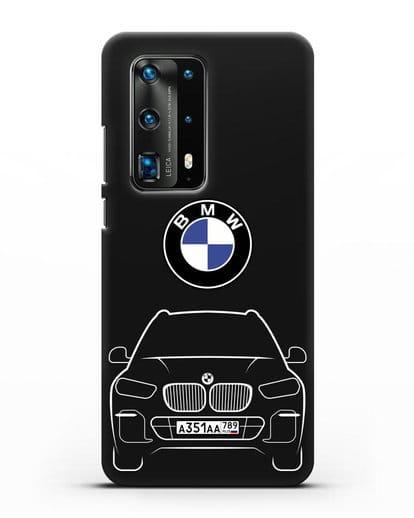 Чехол BMW X5 с автомобильным номером силикон черный для Huawei P40 Pro
