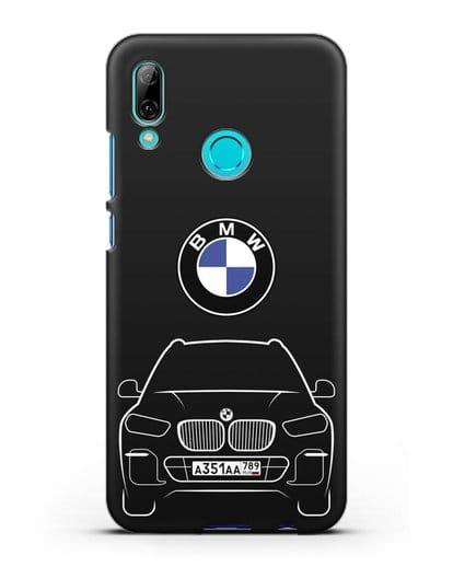 Чехол BMW X5 с автомобильным номером силикон черный для Huawei P Smart 2019