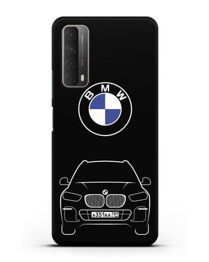 Чехол BMW X5 с автомобильным номером силикон черный для Huawei P Smart 2021