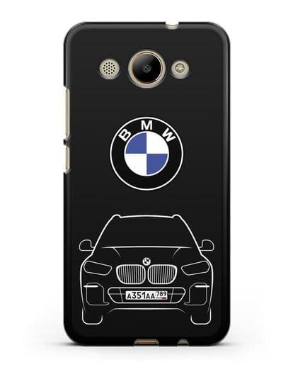 Чехол BMW X5 с автомобильным номером силикон черный для Huawei Y3 2017