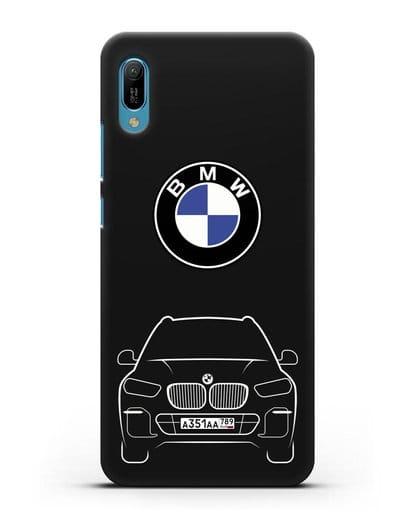 Чехол BMW X5 с автомобильным номером силикон черный для Huawei Y6 2019