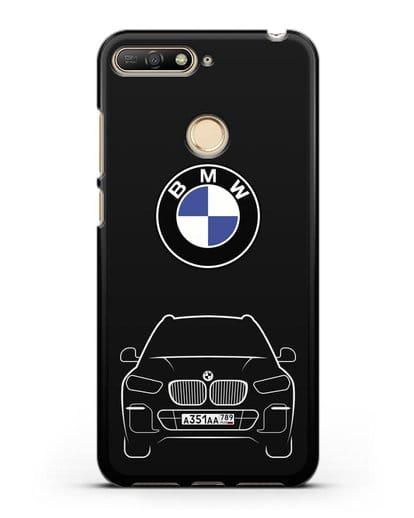 Чехол BMW X5 с автомобильным номером силикон черный для Huawei Y6 Prime 2018