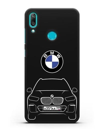 Чехол BMW X5 с автомобильным номером силикон черный для Huawei Y7 2019