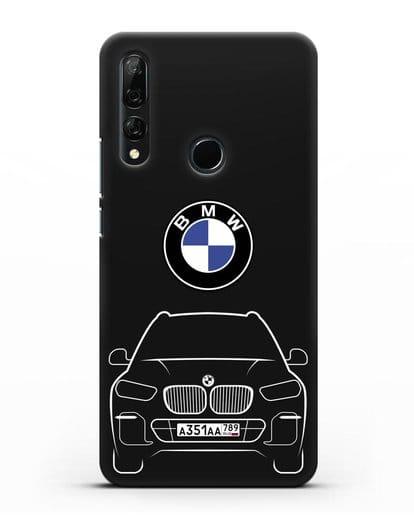 Чехол BMW X5 с автомобильным номером силикон черный для Huawei Y9 Prime 2019