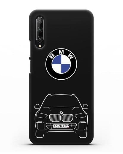 Чехол BMW X5 с автомобильным номером силикон черный для Huawei Y9s
