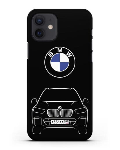 Чехол BMW X5 с автомобильным номером силикон черный для iPhone 12