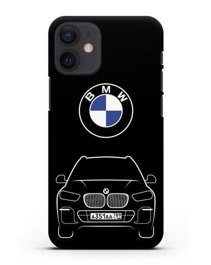 Чехол BMW X5 с автомобильным номером силикон черный для iPhone 12 mini