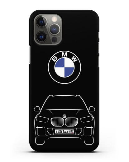 Чехол BMW X5 с автомобильным номером силикон черный для iPhone 12 Pro