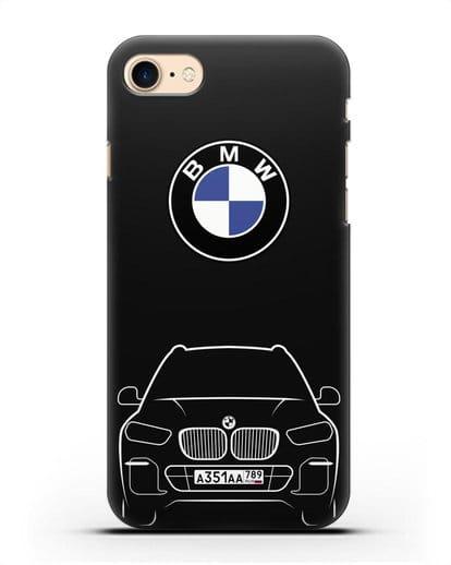 Чехол BMW X5 с автомобильным номером силикон черный для iPhone 8