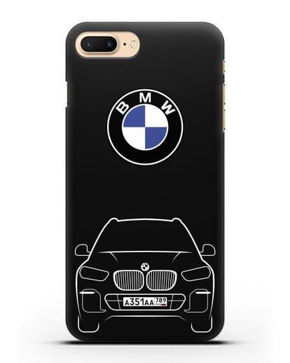 Чехол BMW X5 с автомобильным номером силикон черный для iPhone 7 Plus