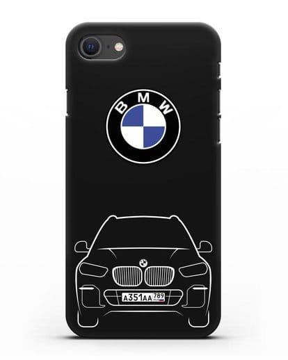 Чехол BMW X5 с автомобильным номером силикон черный для iPhone SE 2020