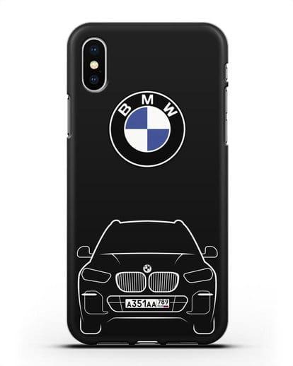 Чехол BMW X5 с автомобильным номером силикон черный для iPhone X