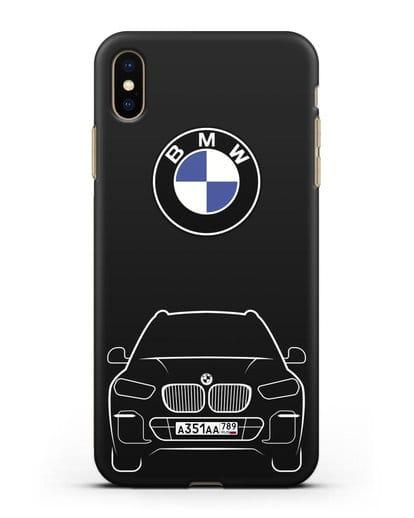 Чехол BMW X5 с автомобильным номером силикон черный для iPhone XS Max