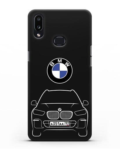 Чехол BMW X5 с автомобильным номером силикон черный для Samsung Galaxy A10s [SM-F107F]