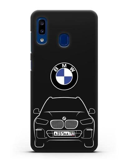 Чехол BMW X5 с автомобильным номером силикон черный для Samsung Galaxy A20 [SM-A205FN]