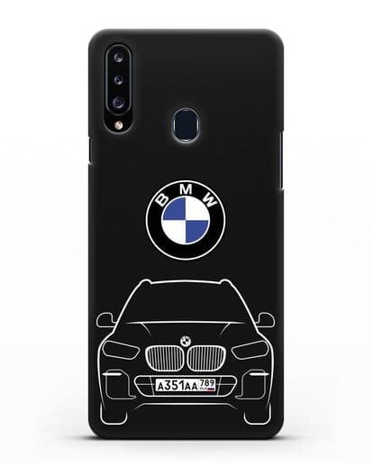 Чехол BMW X5 с автомобильным номером силикон черный для Samsung Galaxy A20s [SM-A207FN]