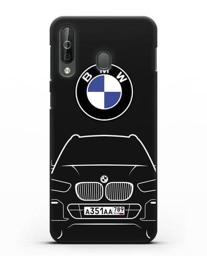 Чехол BMW X5 с автомобильным номером силикон черный для Samsung Galaxy A40s [SM-A507FN]