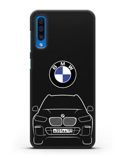 Чехол BMW X5 с автомобильным номером силикон черный для Samsung Galaxy A50 [SM-A505F]